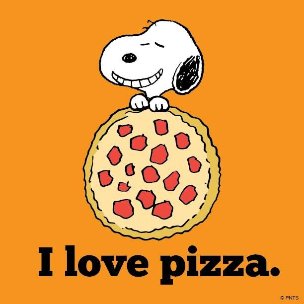 Snoopy loves his pizza