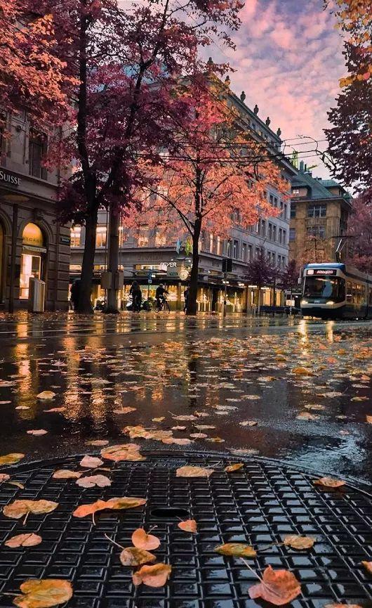 A rainy day in Zurich, Switzerland. Photo via user 'trini' - unique photo perspective
