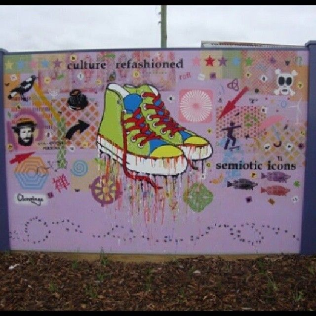 2010 Jan Cleveringa Semiotic Poetry in the Suburbs The Ponds, 30m x 2m (section) #toaster #paint #painting #cleveringa #colour #contemporary #contemporaryart #contemporaryartist #art #artist #abstractart #original #jancleveringa #coolshoes #cool #semiotic #semiotics #icons #signifiers #words #converse #jams #collage