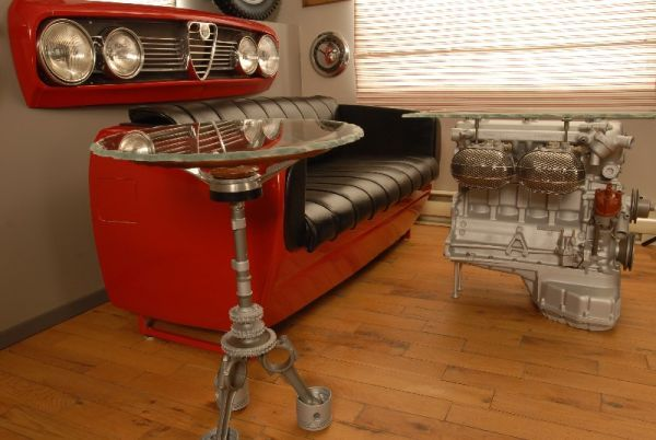 Car Themed Waiting Area for his Shop.