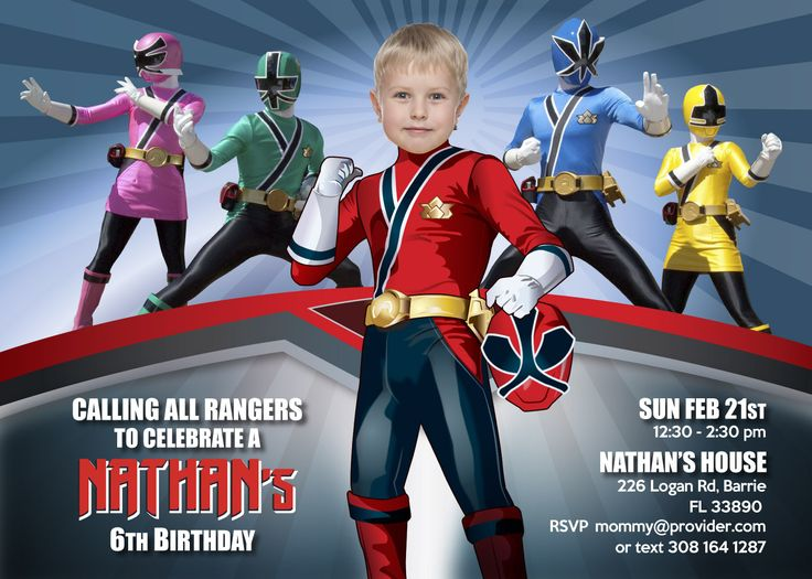 Power Rangers Birthday Invitation. Turn your little one into a Power Ranger! Power Rangers Birthday Party. #PowerRangersParty #PowerRangersPartyIdeas #PowerRangersPartyInvitation #PowerRangersBirthday #PowerRangersBirthdayInvitation #myheroathome