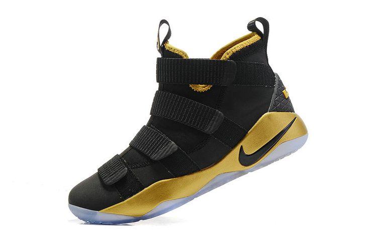 New LeBron James Shoes 2017 New Nike Lebron Soldier 11 NBA Finals MVP Black Gold