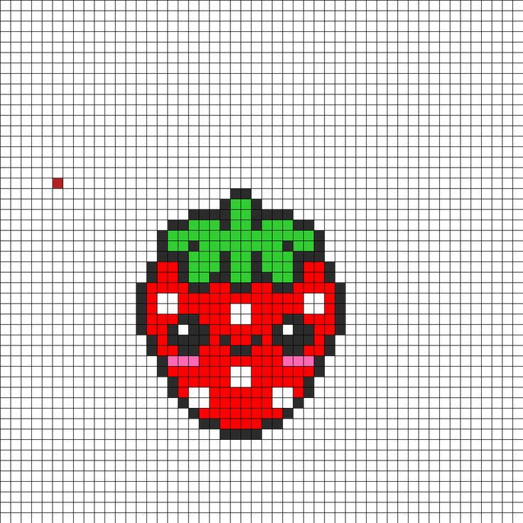 Kawaii Strawberry Perler Bead Pattern | Bead Sprites | Food Fuse Bead Patterns