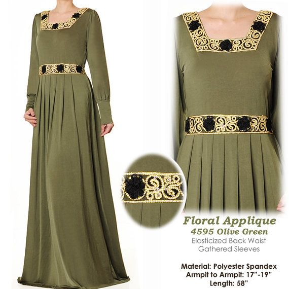 Lace Applique Jersey Abaya Muslim Islamic Long by MissMode21, $34.00