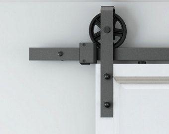6 wheel Rustic Sliding Barn Door Hardware Set Raw Steel