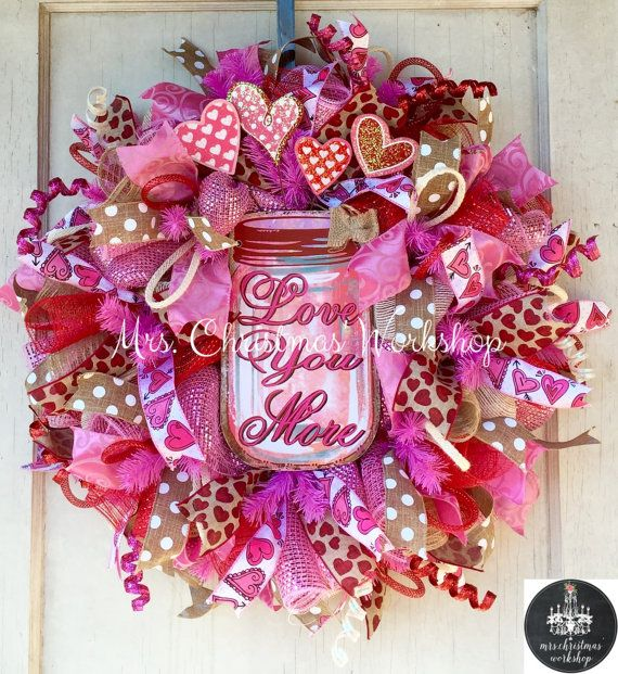 Burlap wreath deco mesh wreath Valentine by MrsChristmasWorkshop