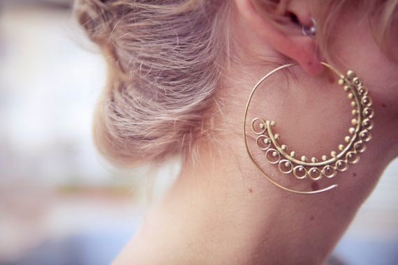 Brass hoops, Tribal Earrings, Ethnic Earrings, Spiral hoops