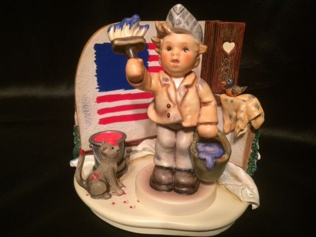 Hummel Goebel One Coat or Two figurine With Scape True Colors American Flag-Mint