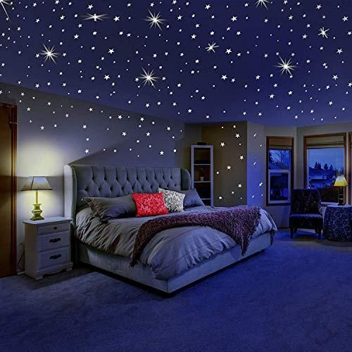dreamkraft glow in the dark galaxy of stars with moon radium wall