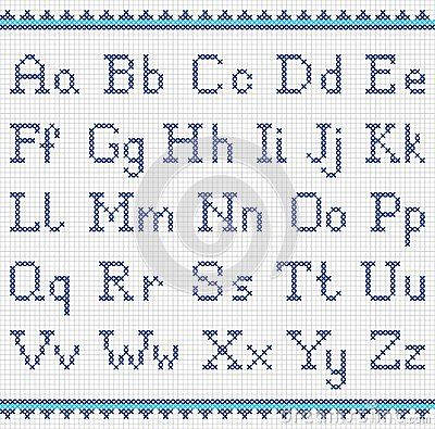 Embroidering Alphabet. Uppercase And Lowercase Stock Vector - Image: 47863577