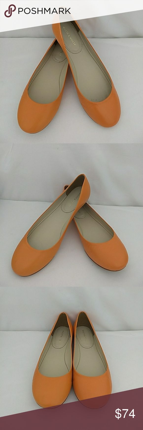 Walin & Wolff Ally Kimberly Orange Ballet Shoes Italian made exclusively for Walin & Wolff.  Walin & Wolff is a specialty retail of designer shoes, handbags, & accessories in New Canaan, CT. Style is called Ally. In excellent condition with only very minimal signs of wear on the bottom soles. Walin & Wolff Shoes Flats & Loafers