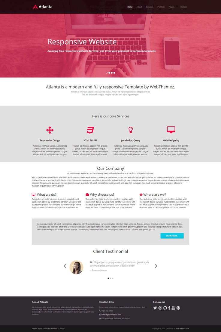 Atlanta template built with #bootstrap framework v.3.1.1. Saga is html5 and css3 based template its contain css3 animation. Its easy to customize and documentation for template included in it. Minimal, ,modern, responsive, multipurpose #HTML5/CSS3 #template. #website