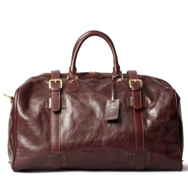 Luxury Italian Leather Large Luggage Bag Flero Dark Chocolate Brown | Maxwell Scott Bags | Wolf & Badger