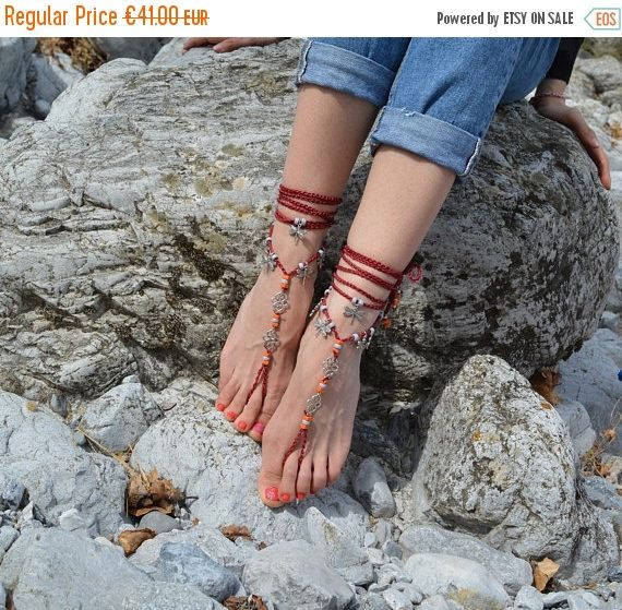 ON SALE barefoot sandals, barefoot shoes, beach wedding barefoot sandals, beach wedding, red sandals, foot jewelry, boho sandals, beach sand