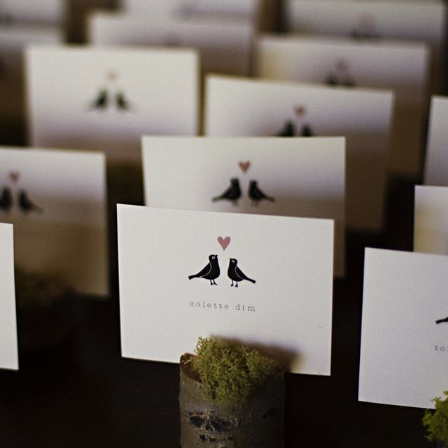 Love Birds Themed Escort Cards