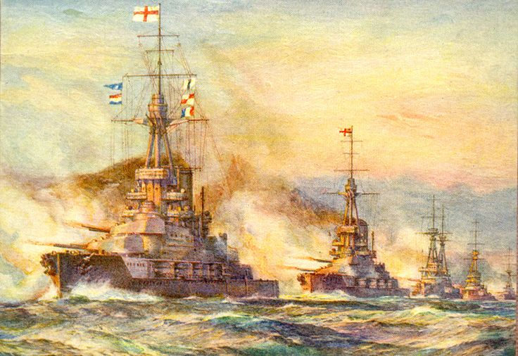 HMS Iron Duke leads the British Battle Fleet at the Battle of Jutland 31st May 1916