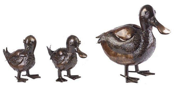 My piece of Africa Duck Mother and Two Babies Set Outdoor Metal Garden Sculpture $449.95