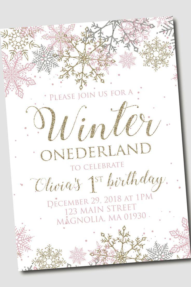 Winter ONEderland Birthday party invite snowflake invitation