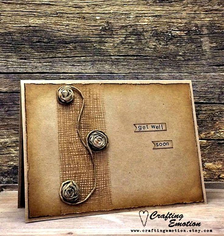 Handmade Get Well Soon Greeting Card, Rustic Get Well Card, Feel Better Soon Card, Good Health Card, Get Well Card, Kraft Get Well Card