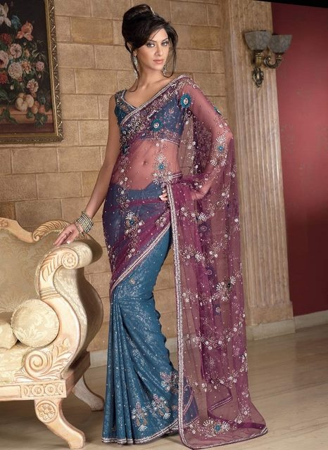 Purple and Blue Color Embroidery Saree for Modern