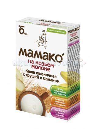 Мамако Молочная пшеничная каша с грушей и бананом на козьем молоке с 6 мес. 200 г  — 285р.   Мамако Молочная пшеничная каша с грушей и бананом на козьем молоке – это вкусное, легко усваиваемое, здоровое питание на козьем молоке без глютена, без сахара, без соли, которое идеально подходит для первого прикорма с 4 - 6 месяцев.  Особенности: Пшеница обладает общеукрепляющими свойствами, положительно воздействует на иммунитет ребенка. Высокое содержание углеводов (полисахаридов) в пшеничной…