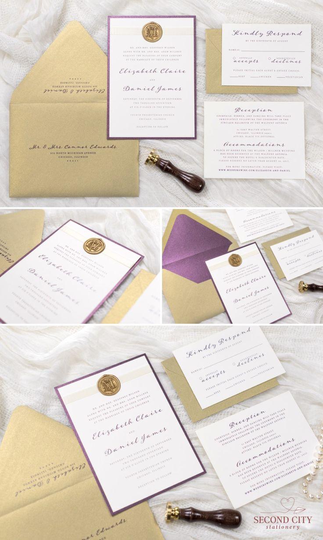 Ivory Gold and Merlot Metallic Wedding Invitation
