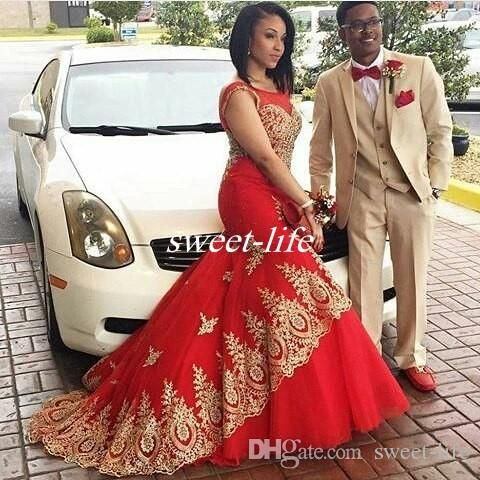 Plus Size Long Prom Dresses 2016 Red And Gold Mermaid Crew Neck Sleeveless with Train Applique Vintage Formal Evening Gowns Pageant Dress Online with $113.83/Piece on Sweet-life's Store | DHgate.com