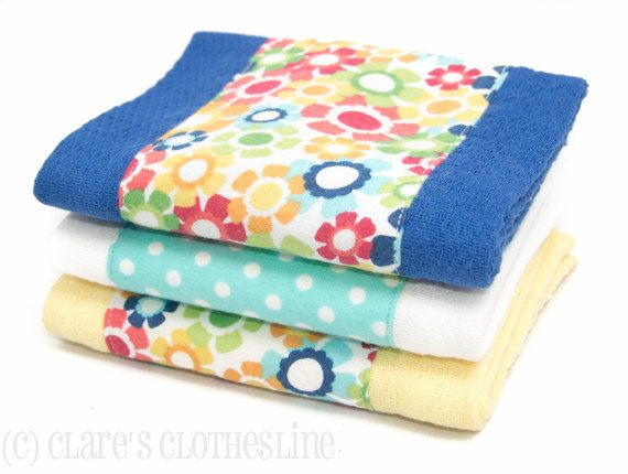 Baby Burp Cloths - Bright Multicolor Floral Burp Cloth Set of 3 - READY TO SHIP by Clare's Clothesline on Etsy