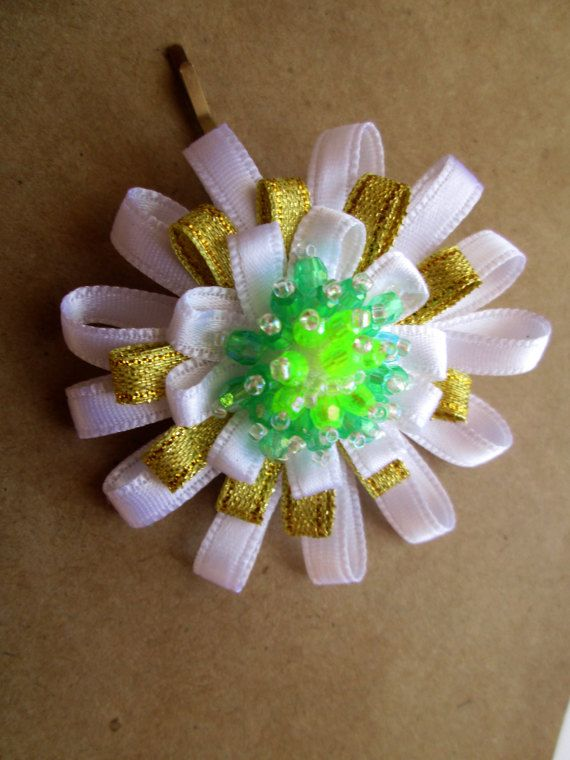 Miss White Lilac & Green Beaded Flower Hair Pin by MadiReShop