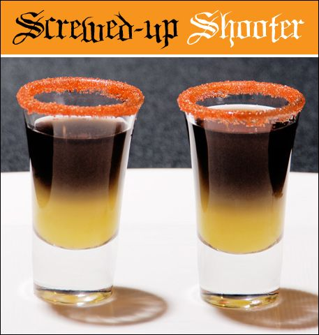 SCREWED UP SHOOTER  .5 oz orange juice .5 oz black vodka orange rimming sugar for garnish (optional)  Fill the bottom half of a sugar-rimmed shot glass with orange juice. Next, add the black vodka. Pour it over the back of a spoon and into the shot glass to help achieve a layered look on top of the OJ.
