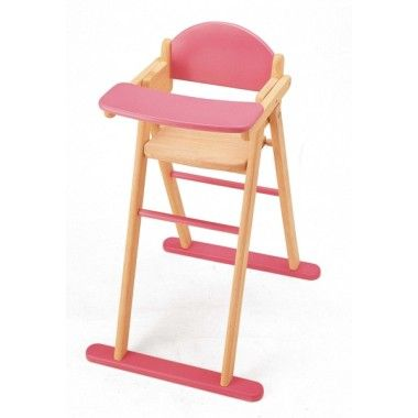 Pink Wooden High Chair By Pintoy