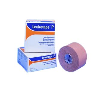 BSN Medical Leukotape P Sports Tape - Leukotape P Sports Tape is a high strength, rigid strapping tape, with a very strong, zinc oxide adhesive. It is porous and hand-tearable, yet offers extra strong support for sprains and strains. Ideal for patellofemoral taping. Use in conjunction with Cover Roll Stretch.Features and Benefits:    Porous    Hand-tearable    High strength adhesive    Ideal for patellofemoral taping
