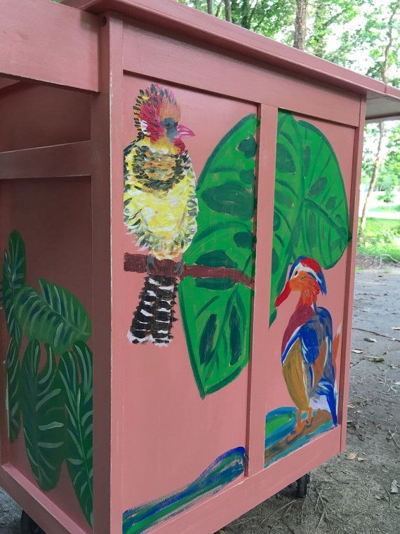 Painted tropical kitchen island liquor cabinet by BlackSheepMill
