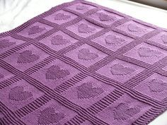 Free Pattern: Heart Baby Blanket. Like the heart and star one I made but with garter stitch instead of seed stitch.