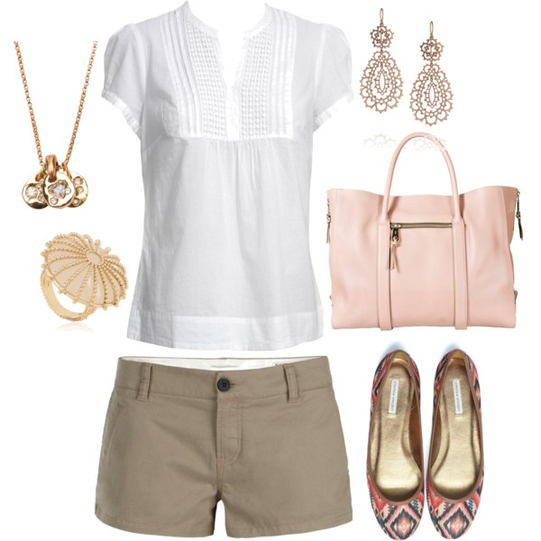 Outfit: Shoes, Fashion, Khakis, White Shirts, Spring Summ, Summer Outfits, Shorts, White Blouses, Spring Outfits
