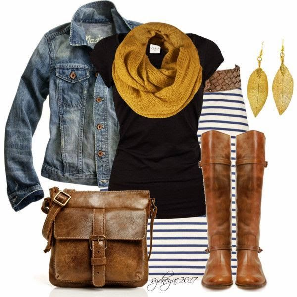 Stylish Pencil Skirt  ( which I'm not a fan of!)With Jeans Jacket & Scarf.  Love the black, jean and mustard combo
