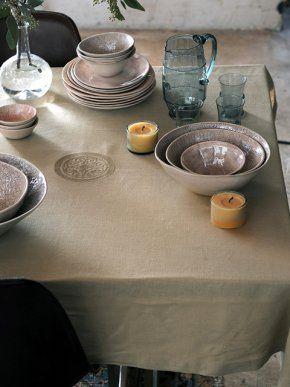 Linnen tafelkleed - Happinez / tablecloth / linen / house of colours
