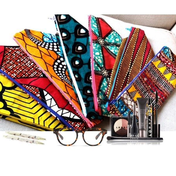 """""""African print bag For Make up/Glasses/Pencils (Tswana designs)"""" by introducing-neo on Polyvore"""