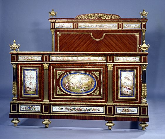 A Remarkable and Highly Important Napoleon III  'Chambrè À Coucher' Comprising Of A Gilt-Bronze Mounted Parcel Gilt And Paris Porcelain And Tulipwood Bed - French   c.1850