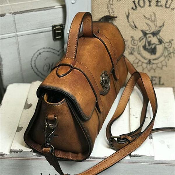 ab869b0f55bbf Women Vintage Tote Bag Full Grain Leather Shoulder Bag Handmade Messen –  LISABAG