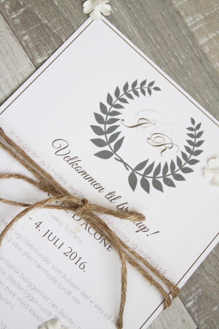 Rustikk invitasjon med olivenkrans og hamptråd - perfekt  til bryllup i Italia!