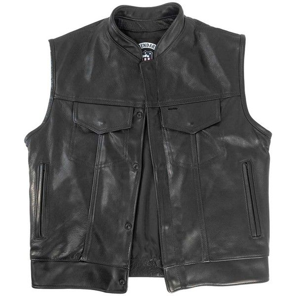Legendary Outlaw Mens Leather Motorcycle Vest with Gun Pockets (355 NZD) ❤ liked on Polyvore featuring men's fashion, men's clothing, men's outerwear, men's vests, mens leather vest, mens leather motorcycle vest, mens vests outerwear and mens pocket vest