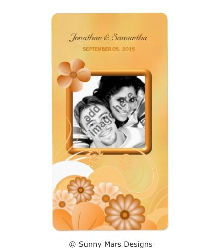 Ivory Gold Floral Hibiscus Custom Photo Wedding Favor Wine Labels by sunnymars  of SunnyMarsDesigns in association with Zazzle.  This stylish, trendy, modern customizable wedding label features an elegant yellow, cream and peach swirly hibiscus flower decoration design.  Click through to see matching wedding stationery and related products.