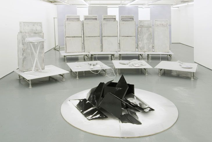 Banks Violette SunnO))) / (Repeater) Decay / Coma Mirror 2006 Steel, hardware, plywood, paint, fibreglass, tinted epoxy, salt, resin Dimensions variable http://www.saatchigallery.com/artists/artpages/banks_violette_salt_space.htm