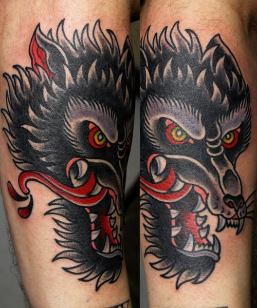 old school tattoo wolf - Поиск в Google