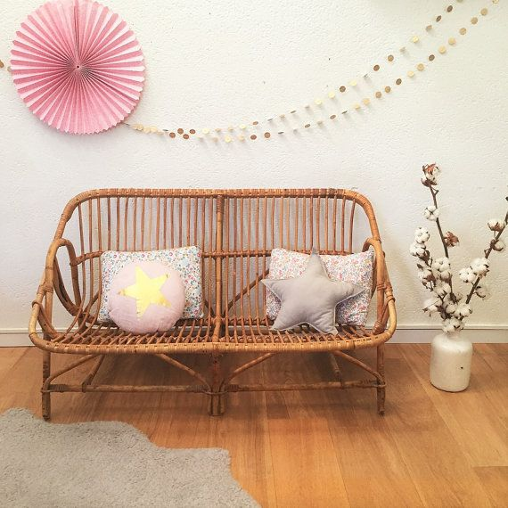 SOLD OUT - Mid century rattan bench seat, rattan sofa, mid century modern, vintage, model Aglaé