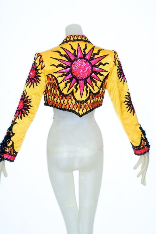 Bob Mackie bead embellished sunflower yellow bolero