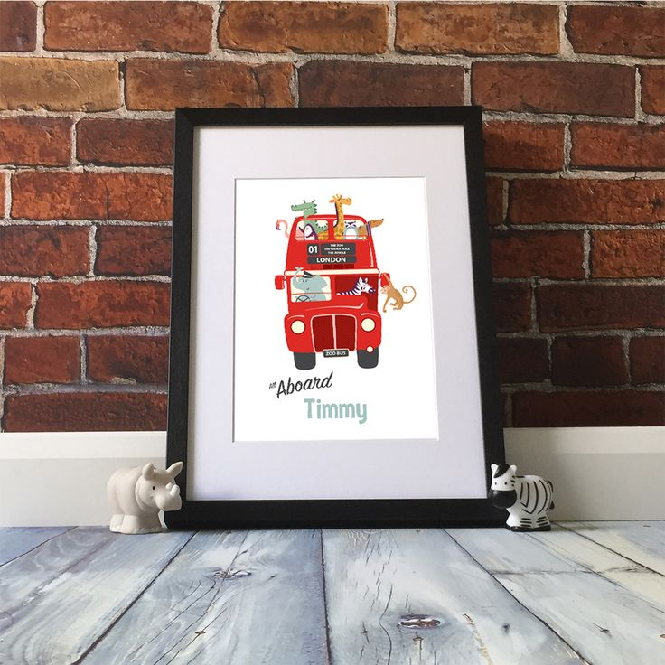Personalised Red London Bus Nursery Print  Ding Ding – all aboard! Our bright red London bus personalised nursery poster is perfect for newborns and boys who love red buses. This design comes complete with a cute collection of animal passengers and can be personalised for free with your little ones name.  This poster has been designed to mark the Queen's 90th birthday celebrations in April 2016. personlaised nursery print