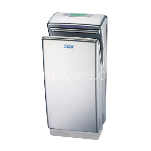 Speedjet hand dryer with two-way pulsed air. Automatic infrared detection, stops automatically when hands are removed or after 18 seconds of drying.