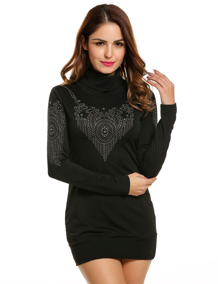 Black Women Sparkle Glitzy Casual Turtleneck Long Sleeve Pullover Sexy Going Out Dresses